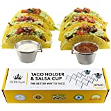 Kitchen Royale 2 Pack Stainless Steel Taco Holder Stand, Rustproof Rack for 2 or 3 Soft Taco Shells Each – Dishwasher and Oven Safe for Baking – Perfect for a Backyard Party Picnic