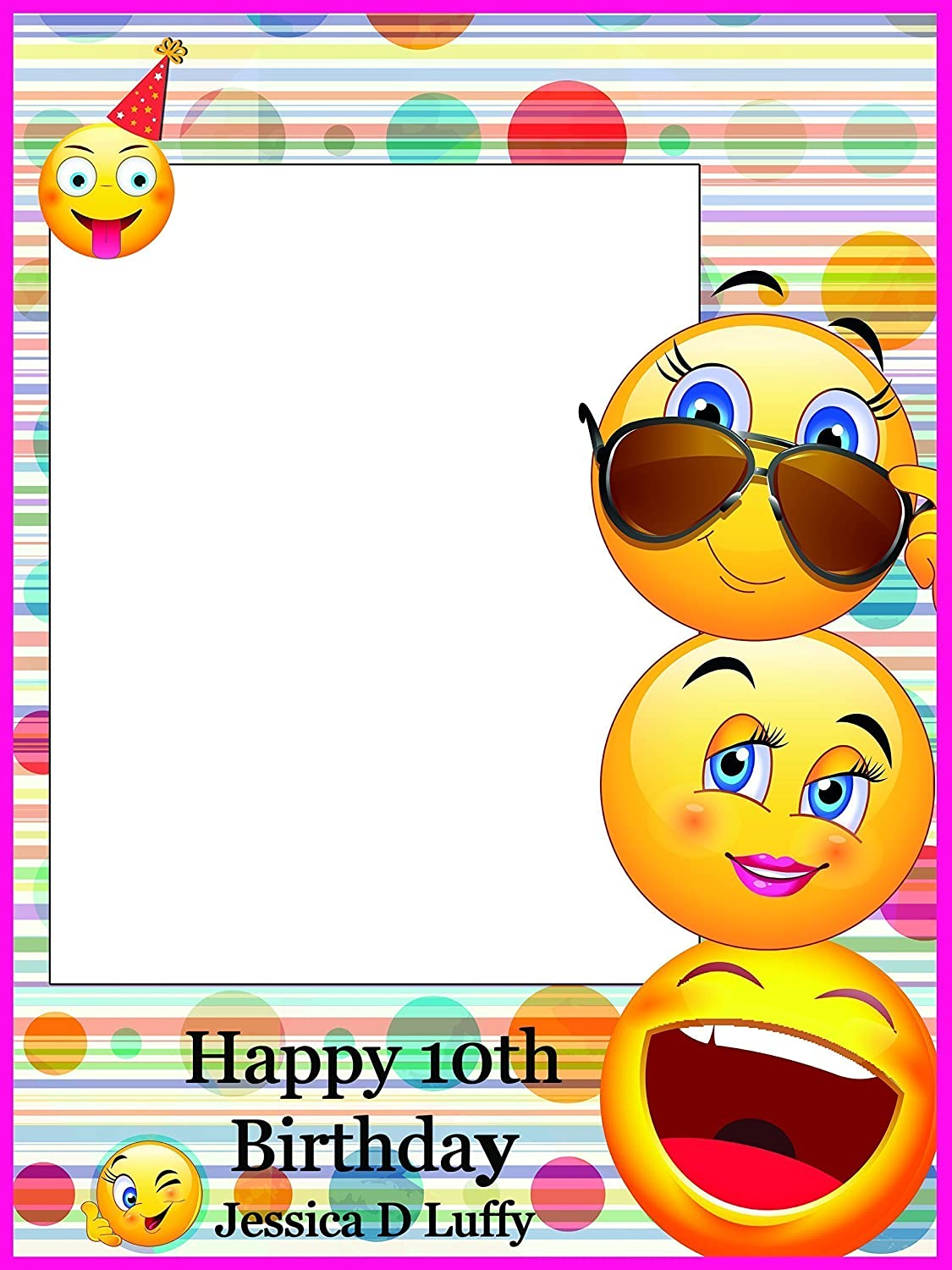 Personalized Emoji Happy Faces Birthday Photo Booth Prop