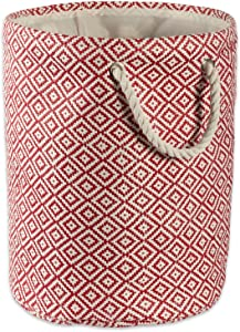 DII Geo Diamond Woven Paper Laundry Hamper or Storage Bin, Small Round, Rust