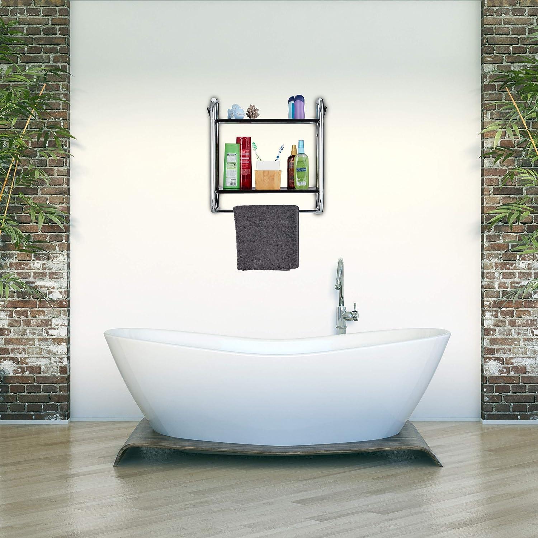 Relaxdays, Chrom/schwarz Wandregal Badezimmer, Badregal mit Handtuchstange,  Hängeregal mit 16 Ablagen, HBT 16,16x16x1616 cm