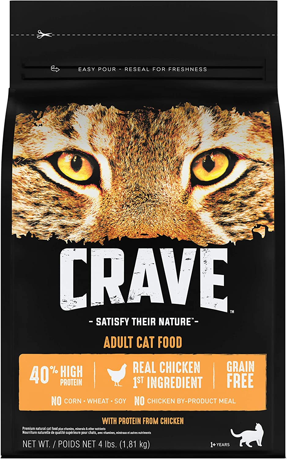 CRAVE Grain Free Adult High Protein Natural Dry Cat Food with Protein from Chicken, 4 lb. Bag