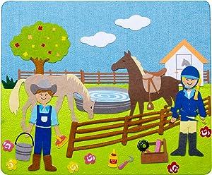 Farmer w/ Horses, Cow & Chickens Felt Storyboard