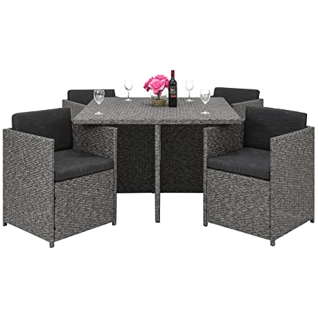 Best Choice Products Space Saving Outdoor Patio Furniture 5 Piece Wicker Dining  Set  Dark