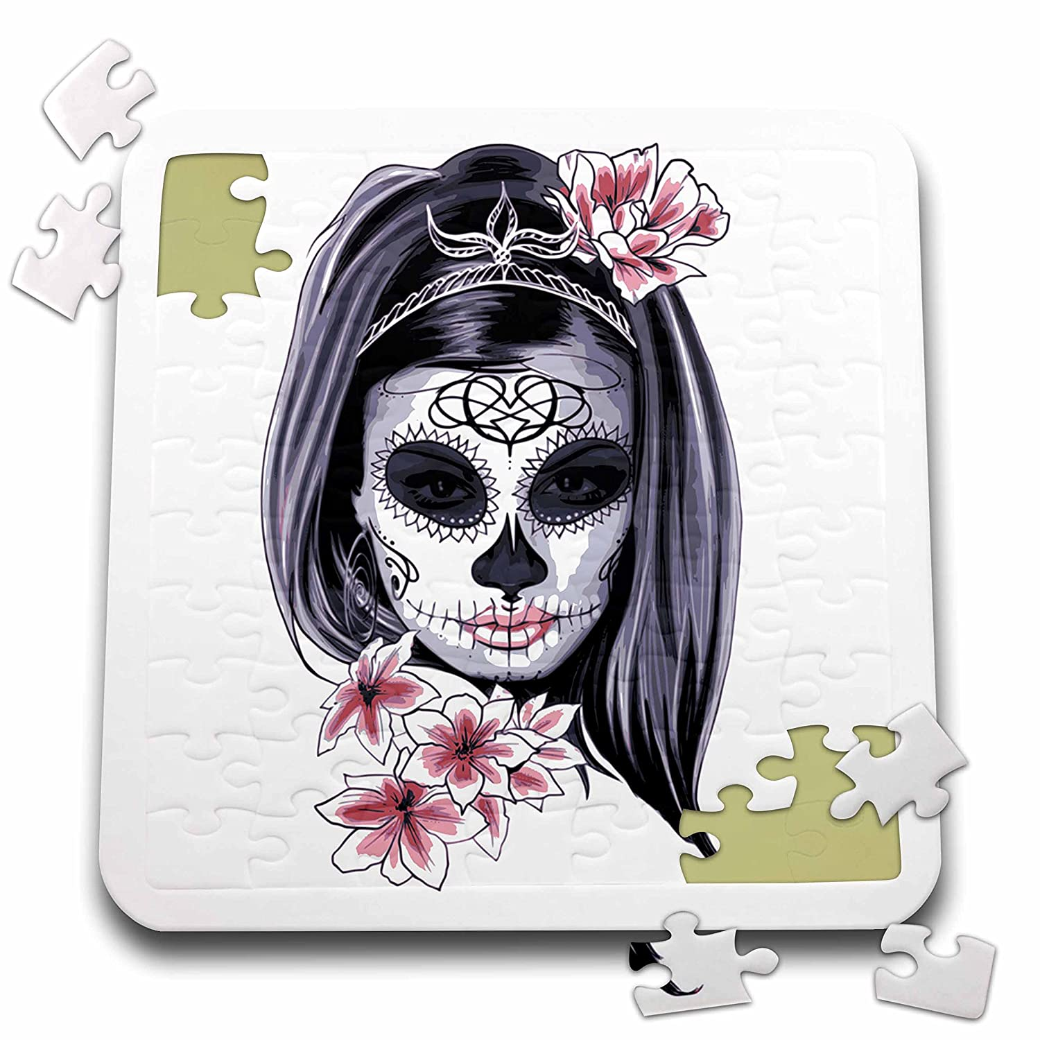Sven Herkenrath Skull - Female Skull with pink Flowers in Hair Black White Gothic Day of the Dead - 10x10 Inch Puzzle (pzl_254366_2)
