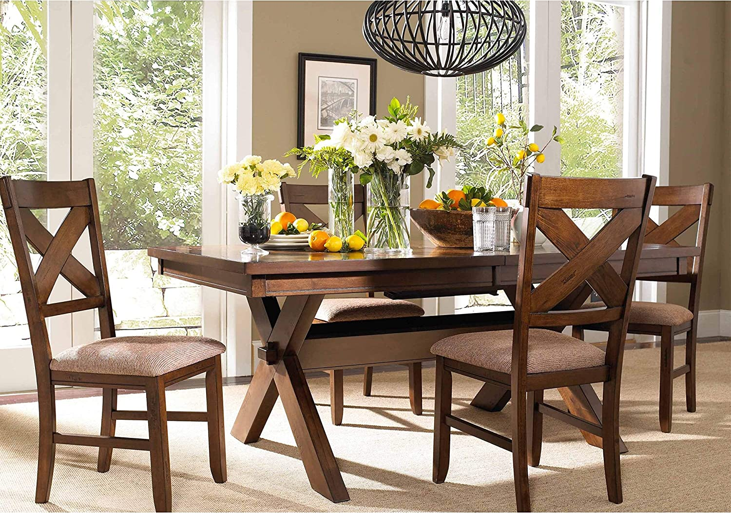 Wd Kraven Dining Set Brown Farmhouse Rustic Rectangle Acacia Rubberwood Honey Finish Butterfly Leaf