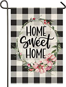 Atenia Home Sweet Home Burlap Garden Flag, Double Sided Country Garden Outdoor Yard Flags for Summer Decor (Garden Size - 12.5X18)