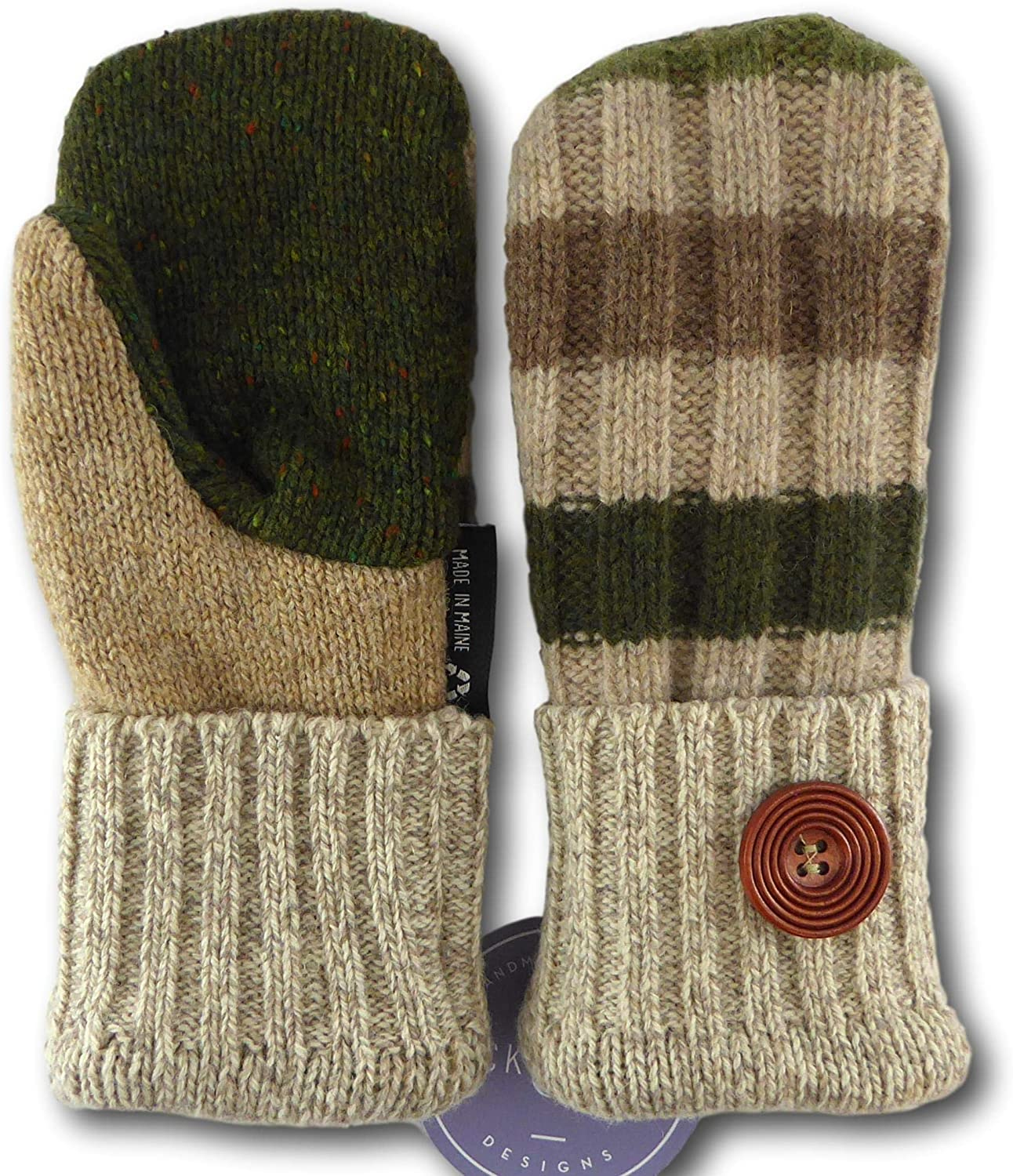 Jack & Mary Designs Handmade Kids Fleece Lined Wool Mittens, Made from Recycled Sweaters in the USA (tangreenbrown, Large)