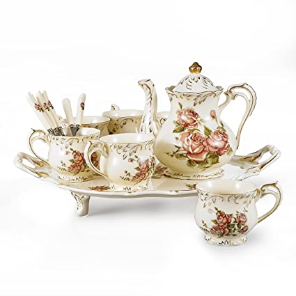 Sweejar casa da t/è in porcellana Royal Family 226,8/gram per tazze e piattini con teiera lattiera zuccheriera in ceramica tazze da t/è e caff/è Pink