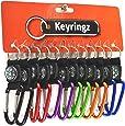 12 units Metal V Clip Carabina Keyrings With Nylon Loop and Compass