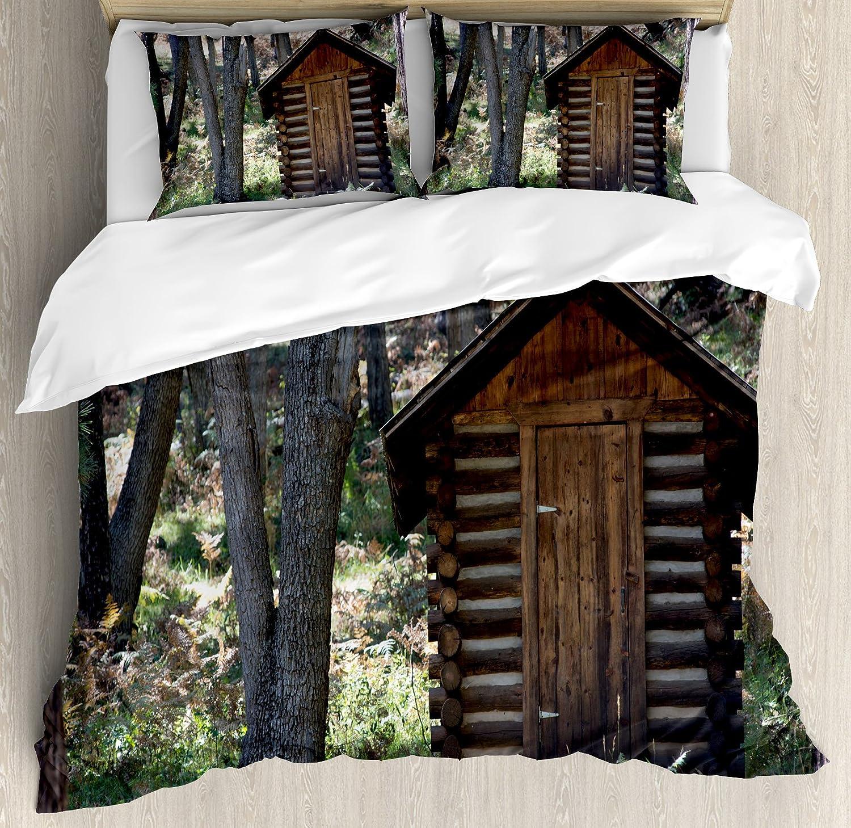Casa de edredón por Ambesonne, madera primitiva vida granero cobertizo en la primavera de bosque hojas foto de leñador, decorativo juego de cama con ...
