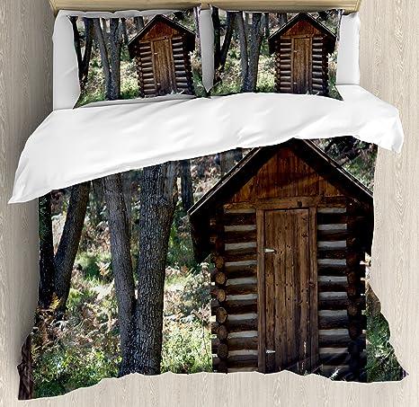 Casa de edredón por Ambesonne, madera primitiva vida granero cobertizo en la primavera de bosque