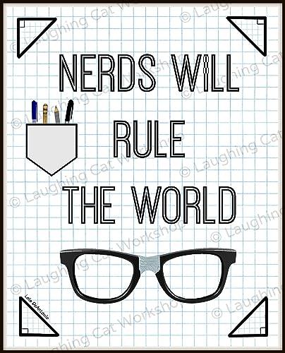Funny Nerd Art, Funny Geek Art, Cute Nerd Print, Dorm Room Decor,