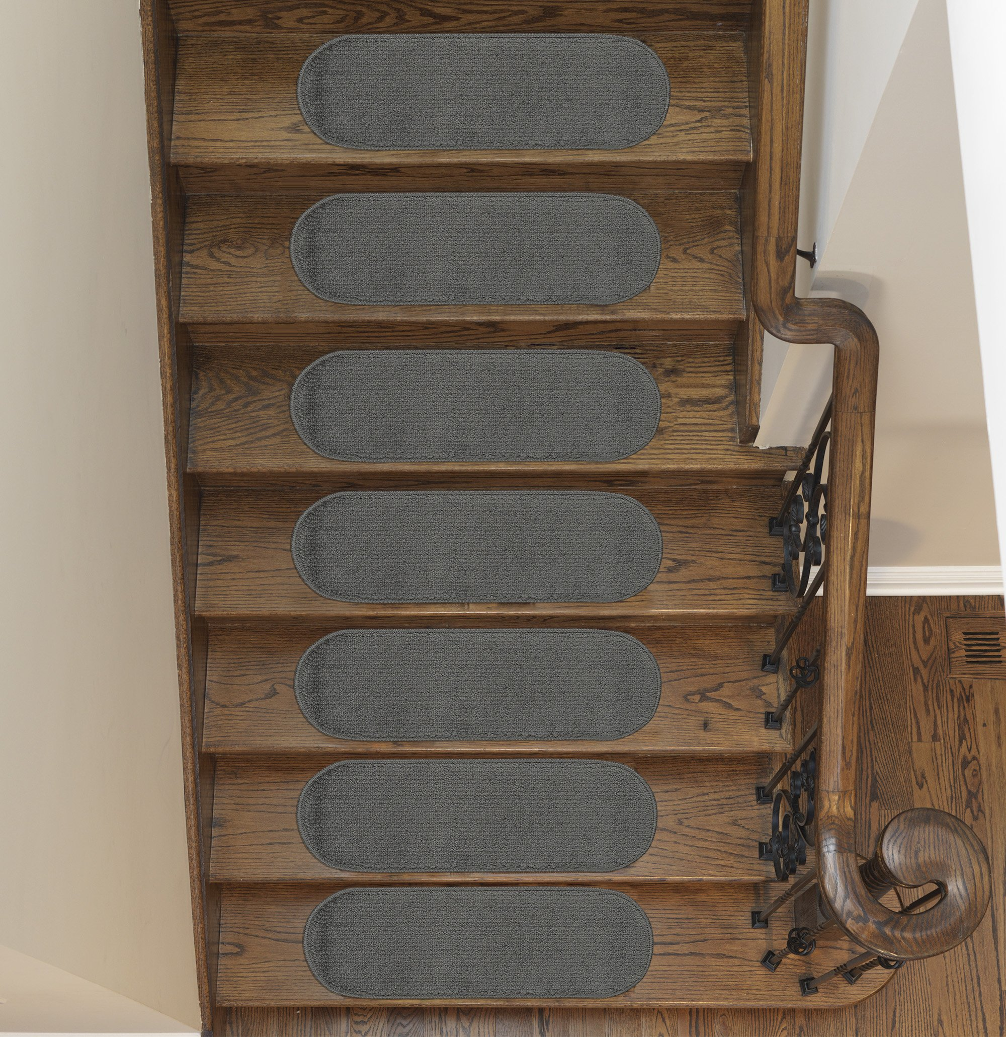 Ottomanson Softy Collection Stair Tread, 9'' X 26'' Oval, Dark Grey, 7 Pack