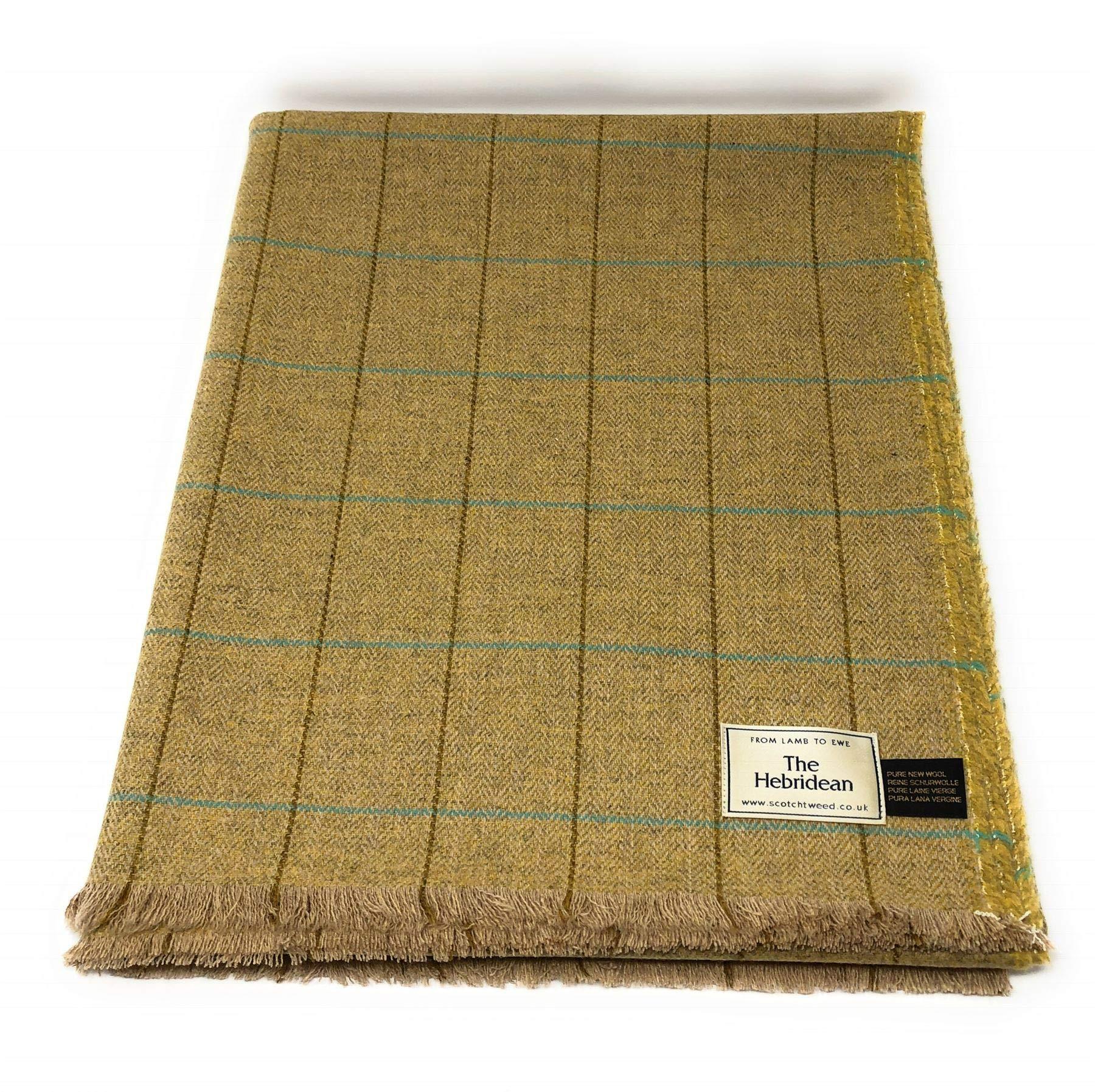 Pure Wool Tweed Blanket/Bedspread/Throw Brown Herringbone Blue Windowpane