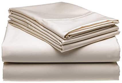 Nice 300 Thread Count Wrinkle Free No Iron Queen Sheet Set, Ivory