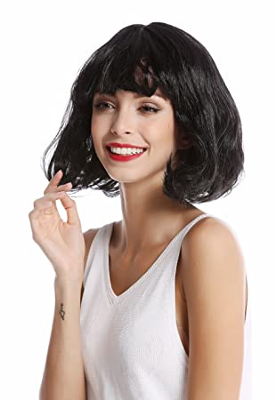 WIG ME UP ® - 90793-ZA103 Peluca Mujer Halloween Carnaval Bob Corto Liso Flequillo
