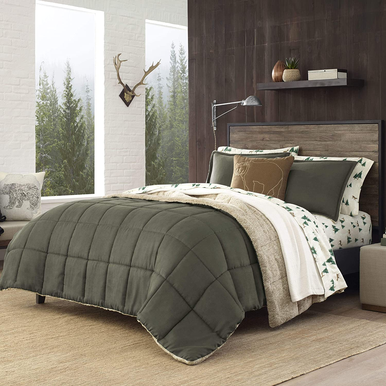 Eddie Bauer Sherwood Sherpa Comforter Set, Full/Queen, Green