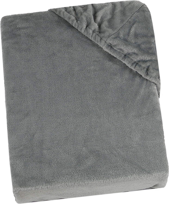 ZOLLNER Sábana Bajera Ajustable de coralina, Gris, Cama 90 cm, 90x200 cm