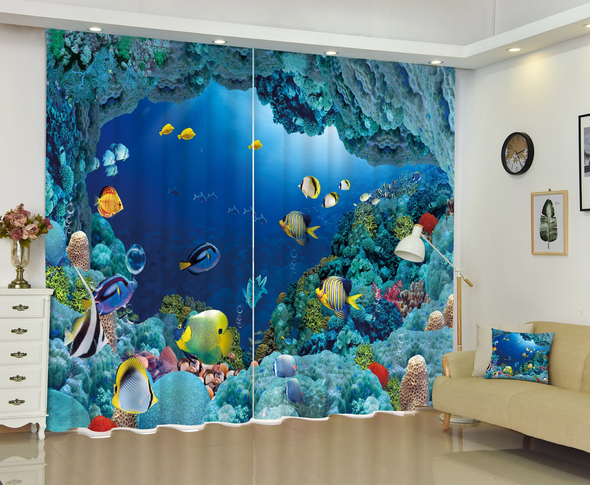 Living Room Bedroom Decor Window Treatment Curtains Drapes by LB, Printed Ocean Theme Picture Home Decorations, Colourful Fish in Blue Underwater Sea World, 2 Panels Set,104W X 84L Inches