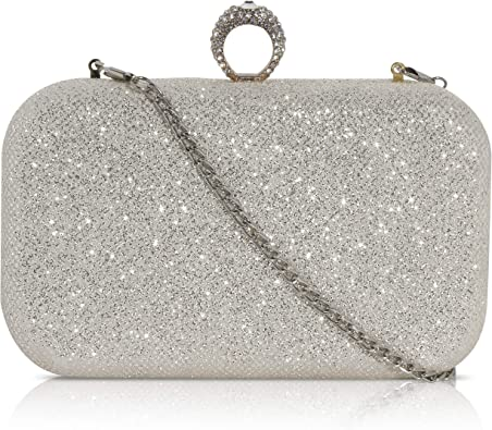 Wedding Prom Ladies Shimmer Sparkle Clutch Bag Purse Evening Party Hardcase
