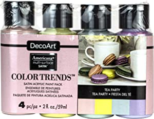 Deco Art Americana Multi-Surface Satin Color Trends Value Pack 4/Pkg-Tea Party