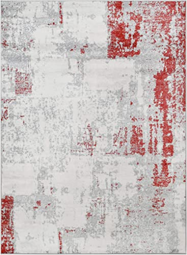 HR- Abstract Rugs, Luxury Livingroom Carpet Modern Contemporary 5×7 red Area Rug Ultra-Soft, Shed Free Stain Resistant Easy Clean Red Silver Gray White 5 x 7