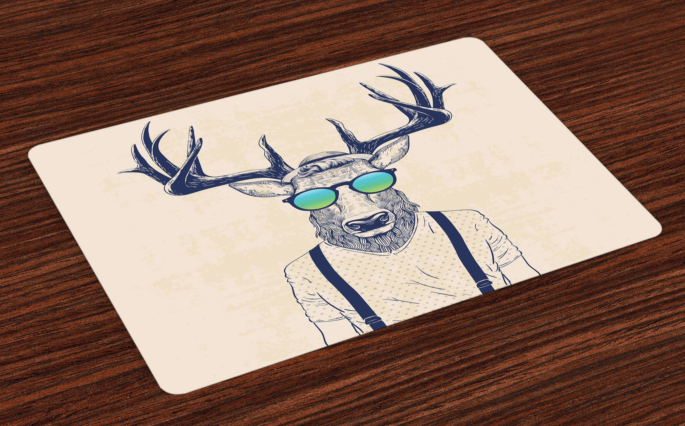 Ambesonne Antlers Place Mats Set of 4, Illustration of Deer Dressed Up Like Cool Hipster Fashion Creative Fun Animal Art, Washable Fabric Placemats for Dining Room Kitchen Table Decor, Beige Black