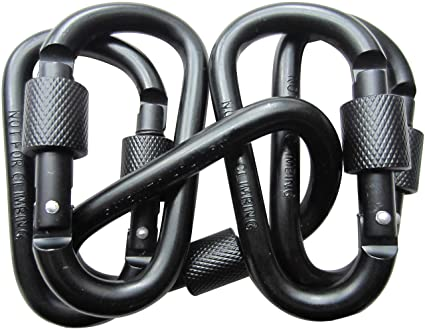 LeBeila 5 PCS Carabiner Climbing D Ring Keychain with Clip Durable Heavy  Duty Aluminum Screw Locking Hooks for Hiking, Fishing and Outdoors (Black)