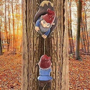 Climbing Gnomes Tree Hugger Decor | Gnomes Garden Decorations | Tree Faces Decor Outdoor | Figurines Miniature Fairy Elf Climbing Tree Hanging Statue Garden Gnomes Outdoor Ornaments