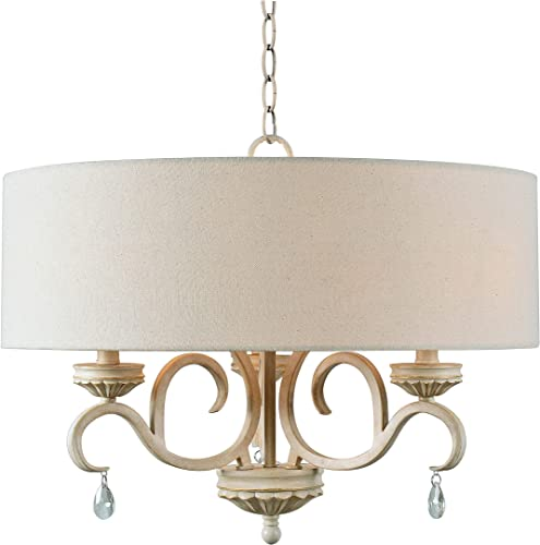 Kenroy Home 3 Light Drum Rustic Chandelier, Weathered White Finish with Gold Highlights
