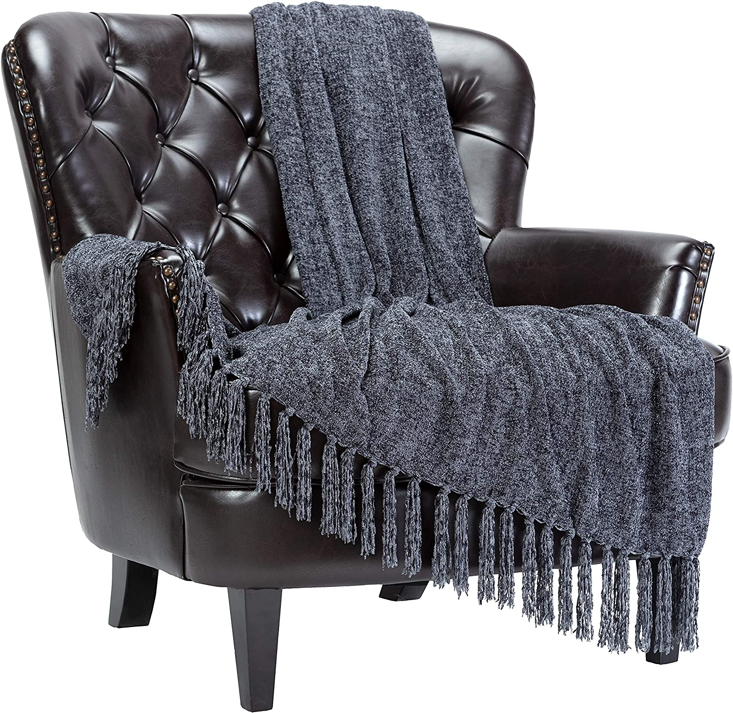 Chanasya Chenille Velvety Texture Decorative Throw Blanket with Tassels - Soft Cozy Elegant with Subtle Shimmer for Sofa Chair Couch Bed Living Room Gray Throw Blanket (50x65 Inches) Dark Shadow
