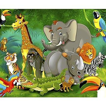 decomonkey Fototapete Kinder Dschungel Jungelbuch Tiere Kinderzimmer ...