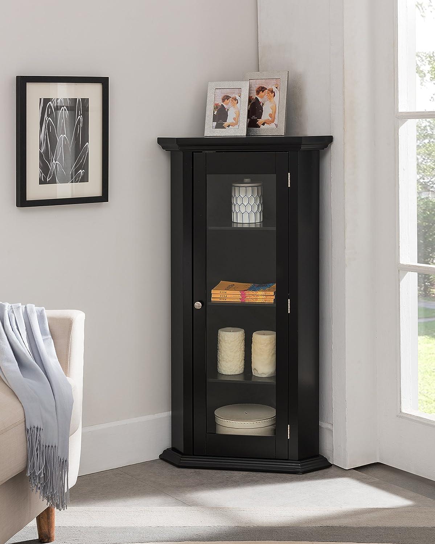 Kings Brand Furniture - Corner Curio Storage Cabinet with Glass Door, Black Finish
