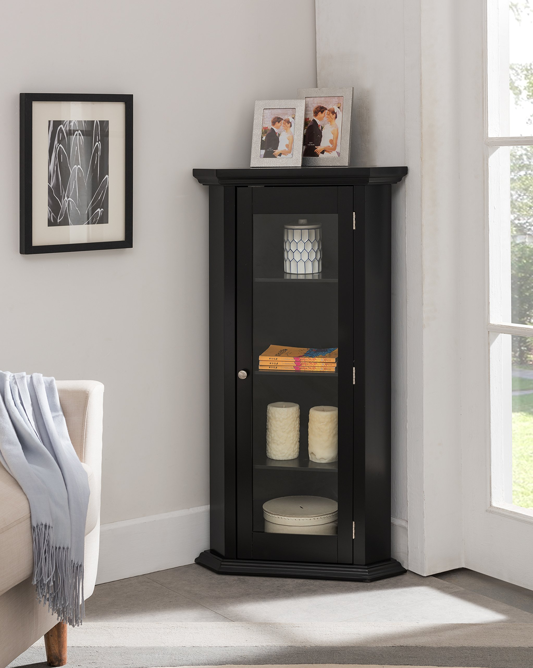 Kings Brand Furniture - Corner Curio Storage Cabinet with Glass Door, Black Finish by Kings Brand Furniture