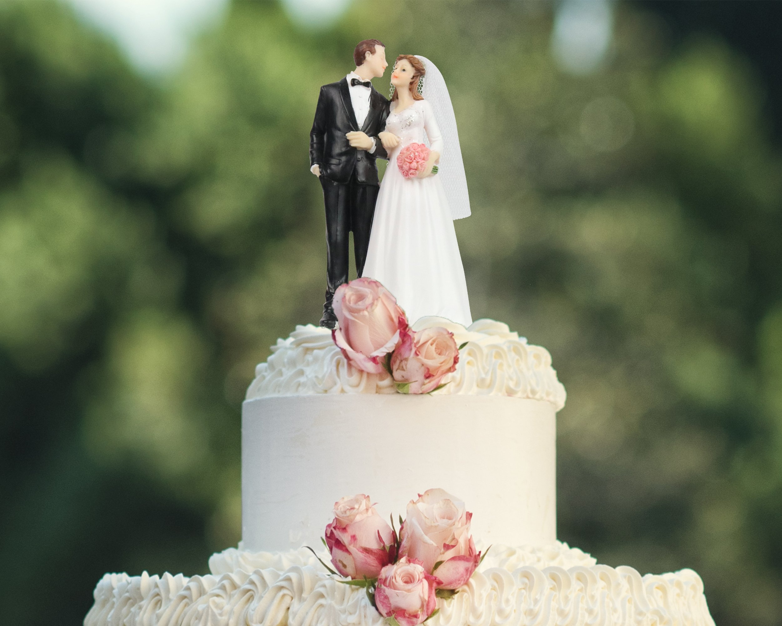 Wedding Cake Topper Funny & Romantic Groom And Bride holding hands with flowers Figurine | Toppers For Wedding Cakes Decoration | Hand Painted & Unique Figurines by zy retail (Image #6)