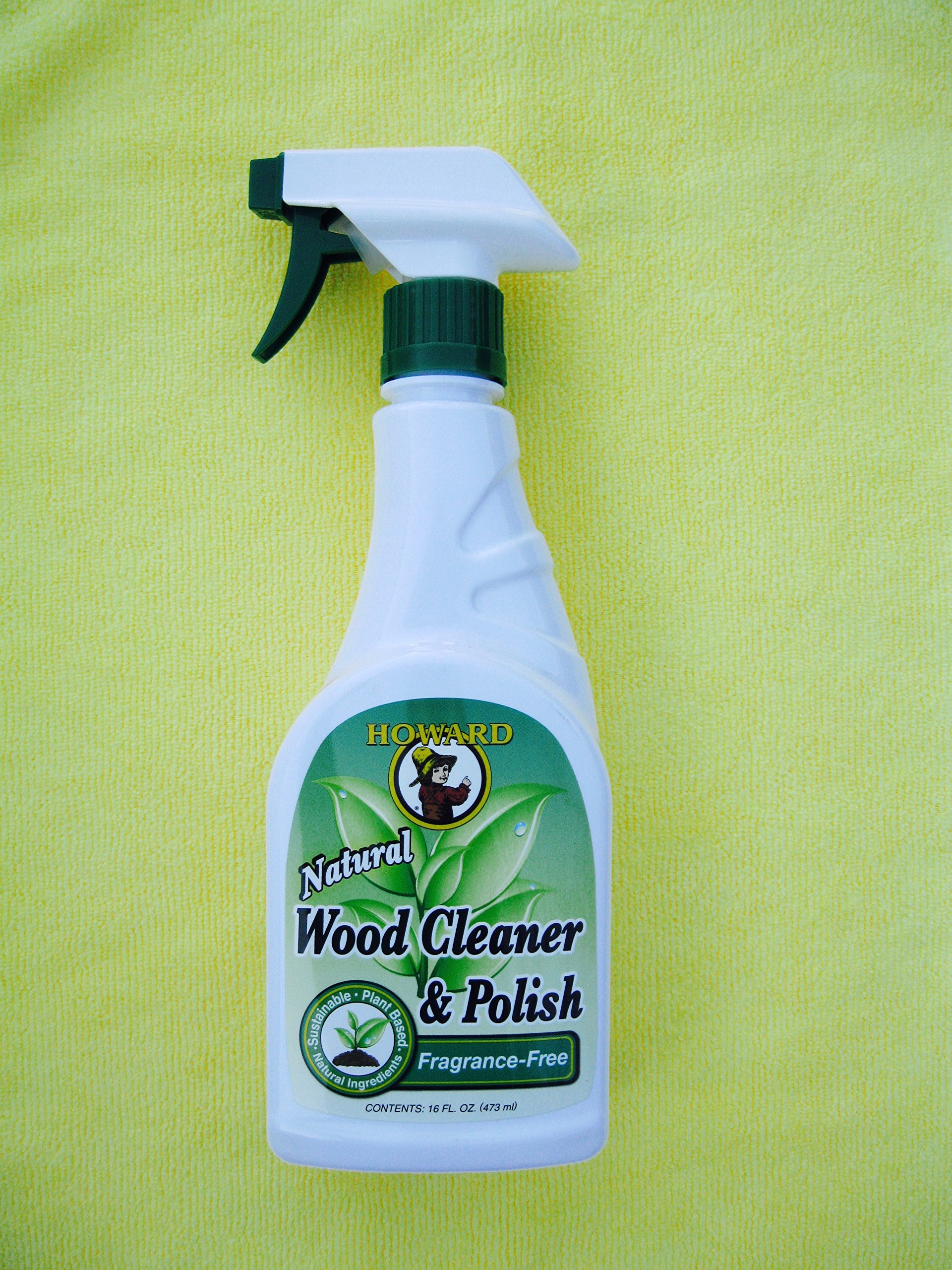 Howard All Natural Wood Furniture Cleaner and Polish - Fragrance Free Natural Wood Polish with Microfiber Cloth (Yellow)