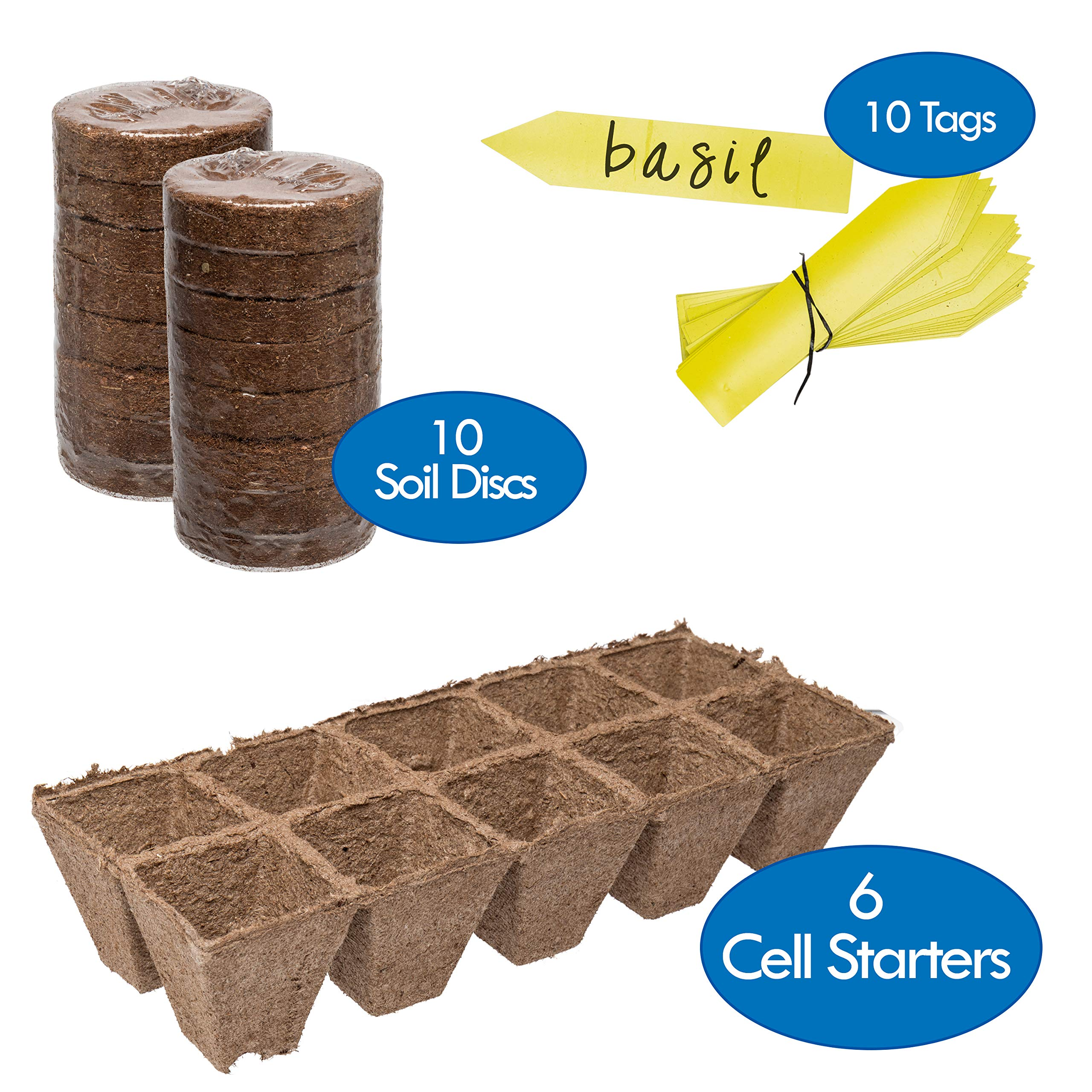 Germination Tray & Soil Starter Pack | 6 Pack of 10 Cell Starter Peat Trays (60 Cells) - 16 Peat Wafer Soil Disks & 10 Easy Read Label Tags | Reusable Potting Seed Starters & Soil
