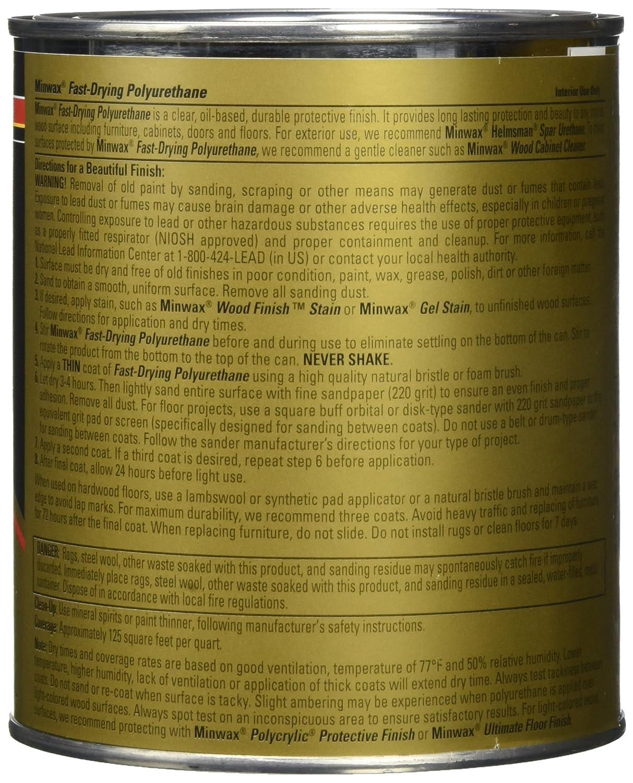 Minwax 63010444 Acabado transparente de poliuretano de secado rš¢pido, cuarto de galš®n, satinado: Amazon.es: Bricolaje y herramientas