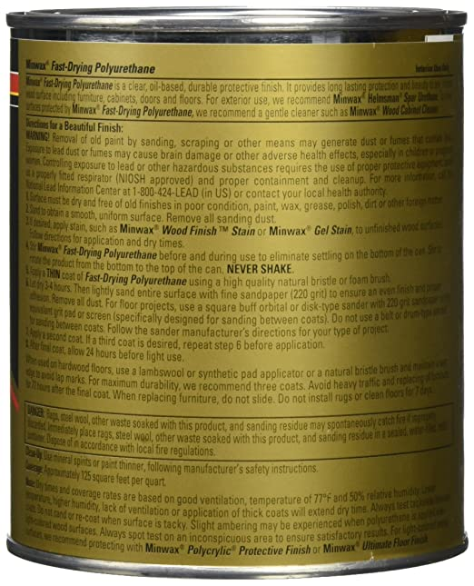 Minwax 63010444 Fast Drying Polyurethane Clear Finish Quart Satin