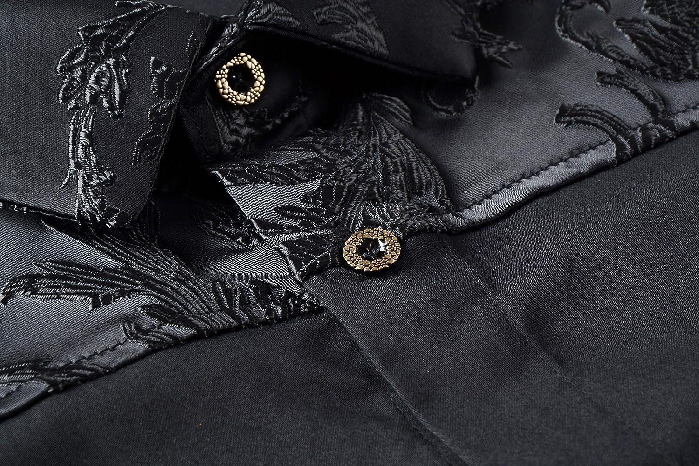 FANZHUAN Lusso Camicie Uomo Eleganti Maniche Lunghe Slim Fiori Classica Casual