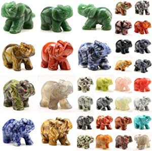 Carved Healing Crystals Gemstones Elephant Statue Figurine Collectible Decor 1.5 inches (Mix 12pcs)