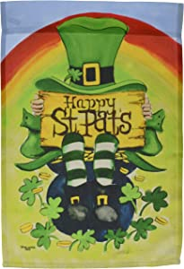 Toland Home Garden Happy Saint Pats 12.5 x 18 Inch Decorative Happy St Patrick's Day Leprechaun Rainbow Pot Gold Garden Flag