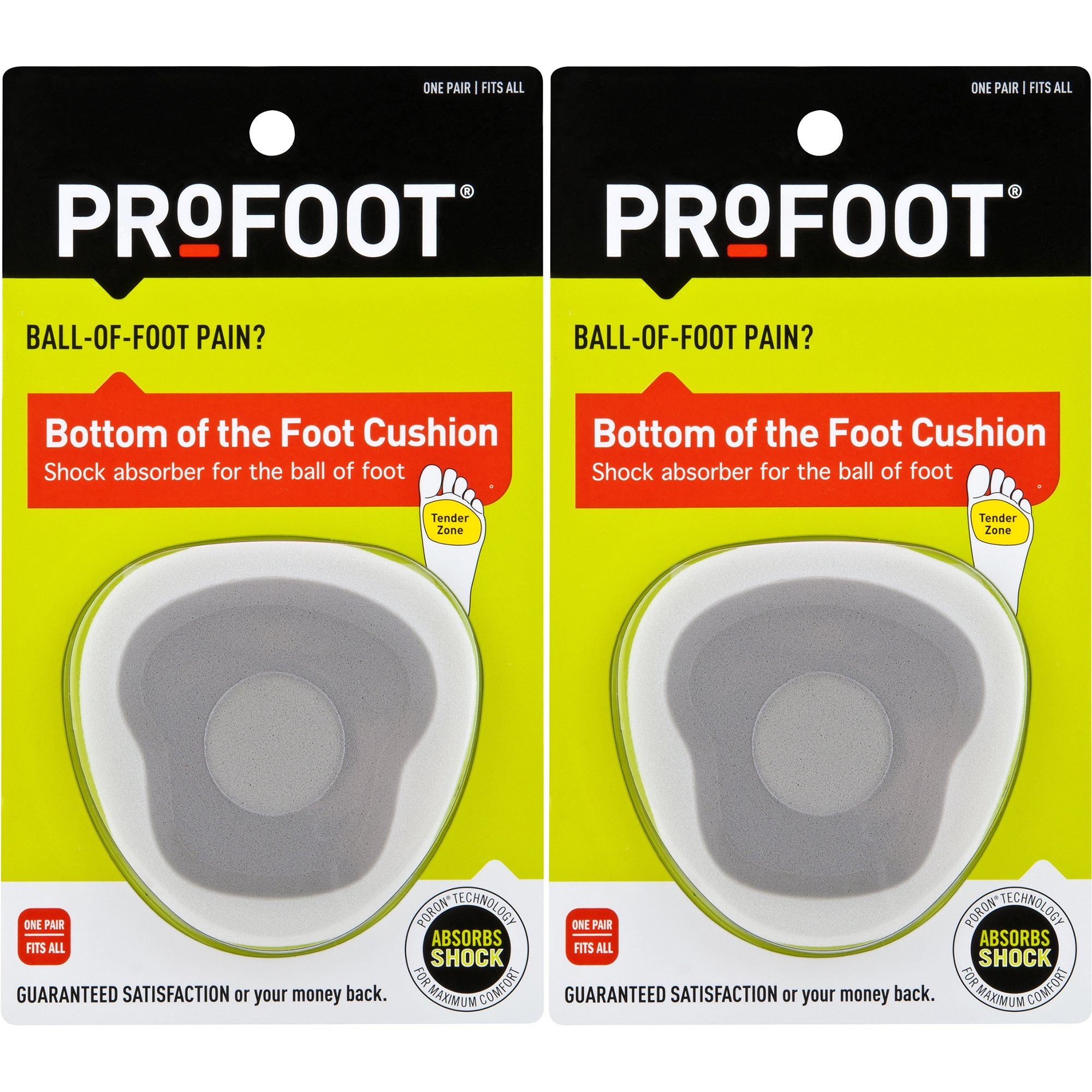 PROFOOT, Bottom of The Foot Cushion, 2 Pair, Ball of Foot Cushion Provides Padding to Metatarsals, Avoid Callouses, Helps Reduce Pain in The Forefoot, Try for Relief from Neuroma, Good for High Heels by Profoot