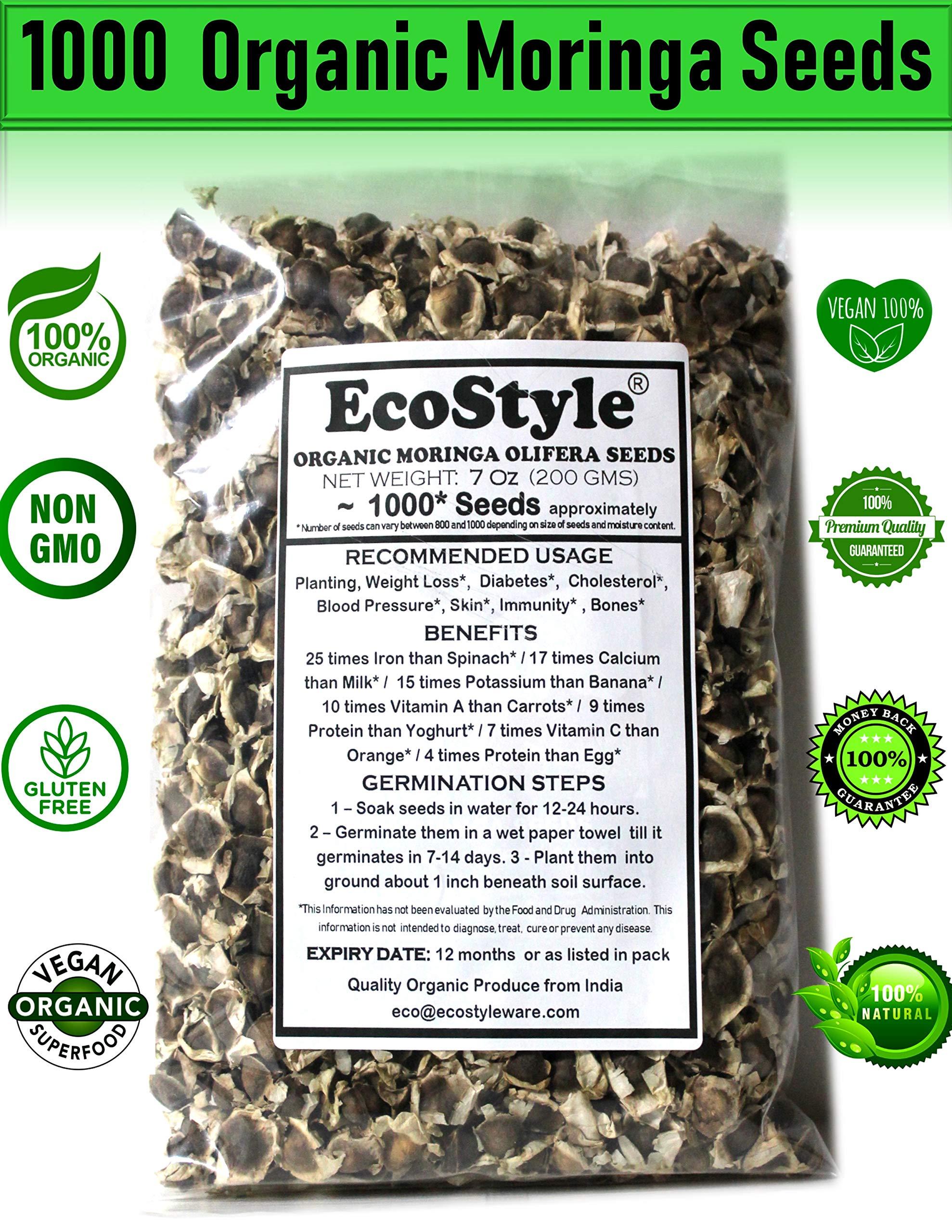 Ecostyle | Organic Moringa Seeds | 1000 Seeds Approx.| Premium Quality | PKM1 Variety | 200 GMS | Edible | Planting | Moringa Oleifera| Malunggay | Semillas De Moringa | Drumstick Tree | Non-GMO !
