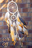 Handmade Native American Indian Dream Catcher with Feathers, Two Circles 4.5inch and 2inch/Length 20-22inch
