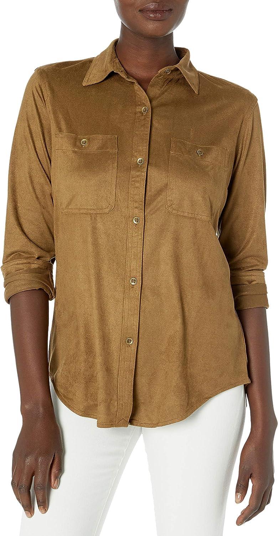 Chaps Women's Soft Faux Suede Button Down Fashion Shirt