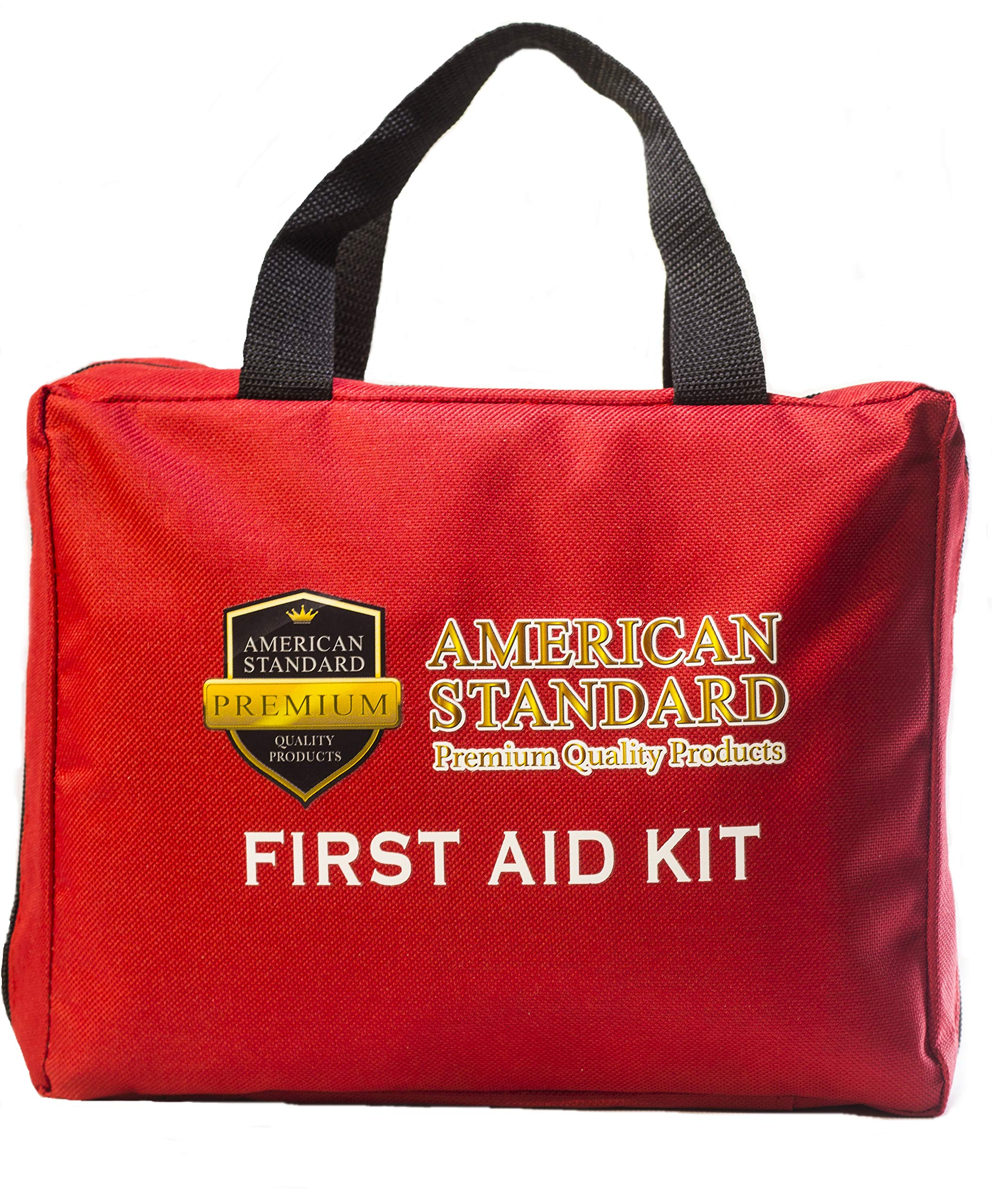 American Standard - First Aid Kit – Emergency Medical Survival Bag – FDA, OSHA, ANSI Approved for Office, Businesses, Home, Car, RV, Boat – Camping, Hiking, Hunting, Sports & Travel First Aid Kit