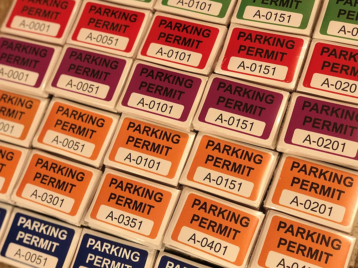 Multiple Number Sets Available Eichelman Designs Blue Parking Permit Window Stickers Decals A0101 to A0150