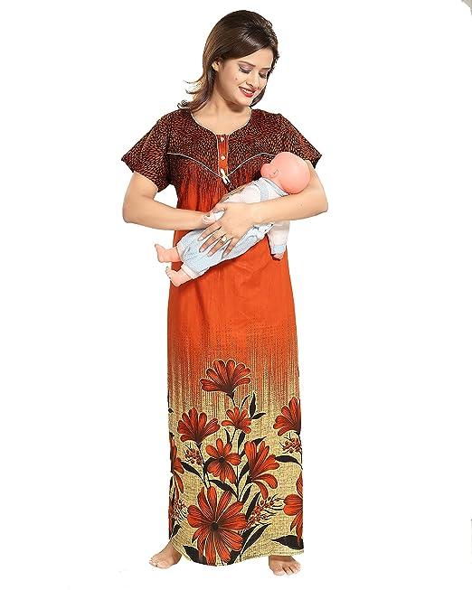 ece760294d TUCUTE Women Floral Print Cotton Maternity Feeding Nursing Nightwear Nighty Night  Gown (Rust) 1350  Amazon.in  Clothing   Accessories