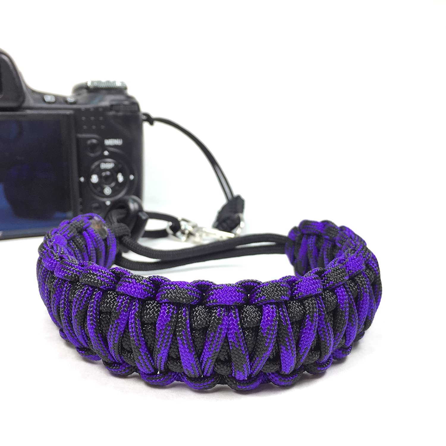 Blackberry Purple and Black King Cobra Paracord Best Camera Wrist Strap - Comfortable Camera Strap - Best Camera Strap For DSLR Cameras